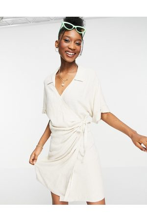 ASOS Women Summer Dresses - Linen wrap mini dress in natural