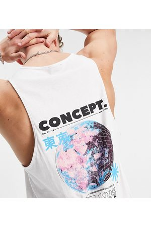 New Look Men Camisoles - Vest with back concept print in white