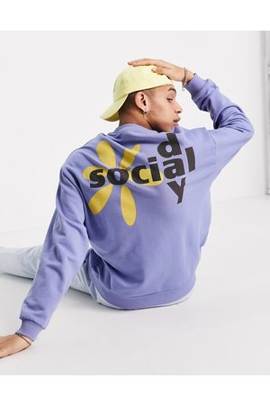 ASOS Men Sweatshirts - ASOS Daysocial oversized sweatshirt with graphic logo back print in