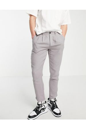 ASOS Cigarette trousers with pleats in linen