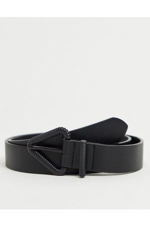 ASOS Skinny belt in faux leather with triangle buckle in matte