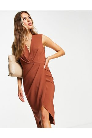 ASOS Women Midi Dresses - Sleeveless shoulder pad pleat midi dress in