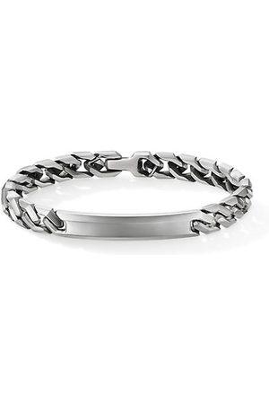 David Yurman Men Bracelets - Chain Sterling Angular Curb Link ID Bracelet