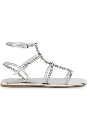 Miu Miu Sandals - Crystal Metallic Gladiator Sandals