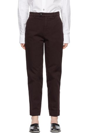 Namacheko Burgundy Overdyed Contrast Stitch Trousers
