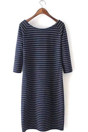 YOINS 3/4 Length Sleeve Pinstripe Bodycon Dress