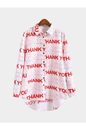 YOINS THANKYOU Print Long Sleeve Shirt