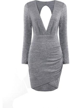 YOINS Plunge Drape Dress with Cut Out Back