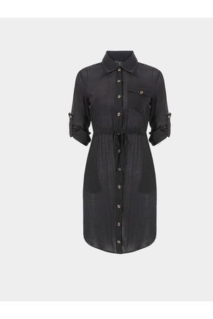 YOINS Long Sleeve Shirt Dress With Drawstring