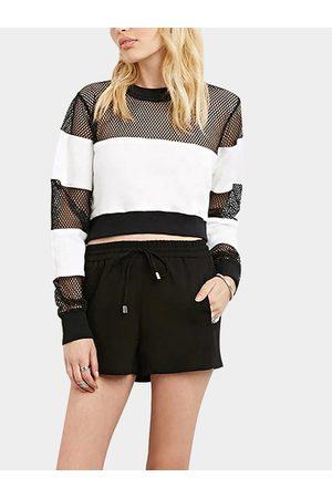 YOINS Boyfriend Style Mesh Insert Baseball Crop Sweatshirt in