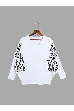 YOINS Women Sweatshirts - Letter Pattern Batwing Sleeves Plunge Sweatshirt in