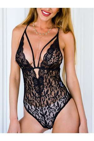YOINS Sexy Sleeveless Hollow Strappy Lace Bodysuit