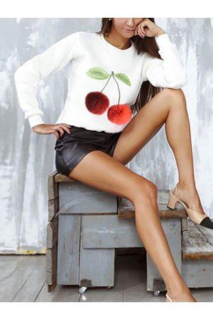 YOINS Fashion Round Neck Long Sleeves Pom Pom Details Sweatshirt