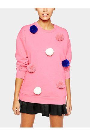YOINS Long Sleeves Fur Ball Decorations Sweatshirt