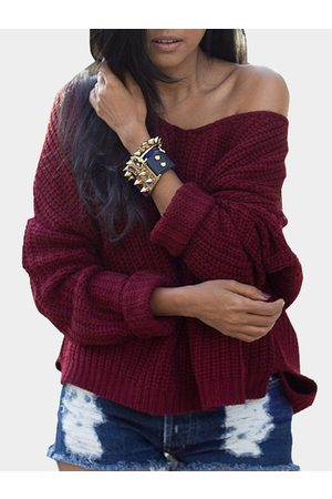 YOINS Ladies V Neck Long Dolman Sleeve Top Knit Sweater