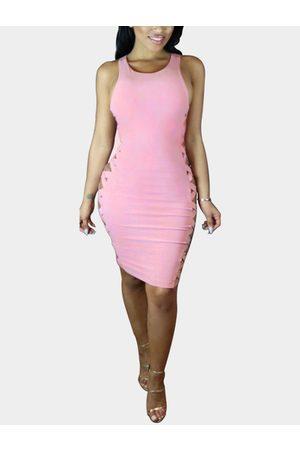 YOINS Sexy Bodycon Cross Strap Vest Dress
