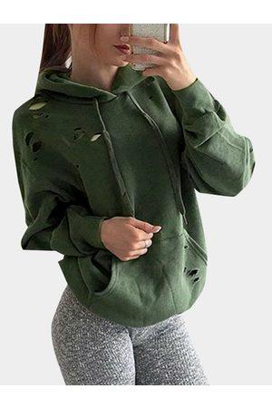 YOINS Armygreen Hole Casual Loose Hooded Hoodie