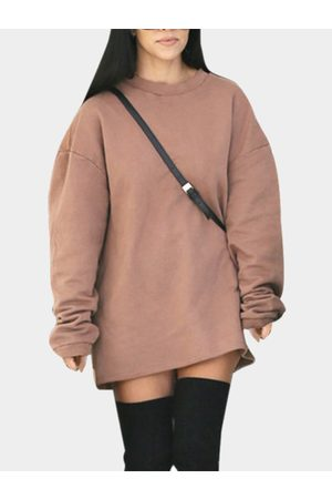 YOINS Brown Casual Round neck Long Sleeves Sweatshirt