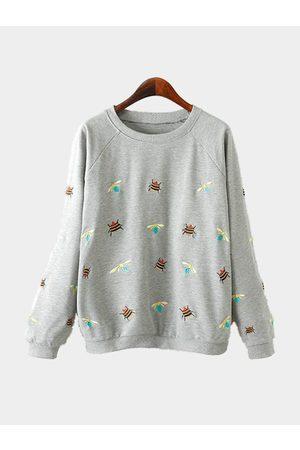 YOINS Long Sleeves Embroidery Pattern Sweatshirt