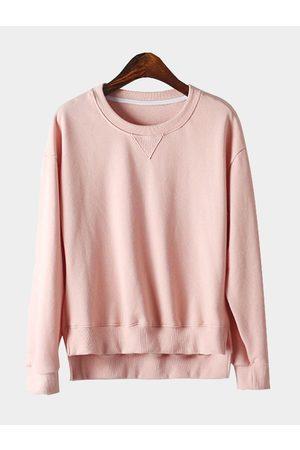 YOINS Simple Long Sleeves Round Neck Irregular Hem Sweatshirt