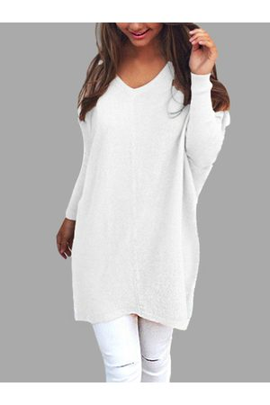 YOINS Casual Knit Long Sleeves V-neck Sweater