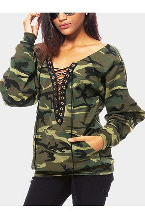 YOINS Camouflage Pattern Lace-up Design Sweatshirt