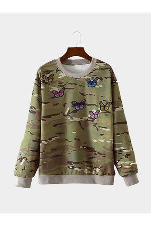 YOINS Random Camouflage Print Butterfly Pattern Sweatshirt