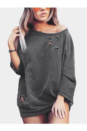 YOINS Dark Grey Loose Round Neck Long Bat Sleeve Fashion Hole Sweatshirt