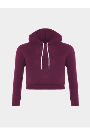 YOINS Plain Color Double Straps Front Hooded Crop Sweater
