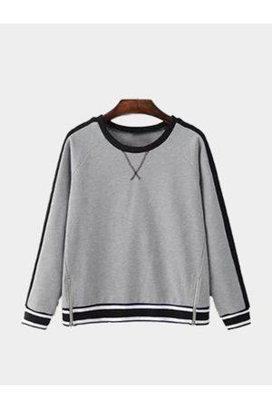 YOINS Simple Design Contrast Color Zipper Details Sweatshirt