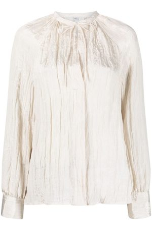 Vince Creased neck-tie blouse