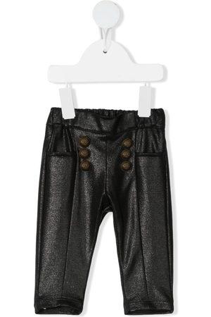 Balmain Metallic elasticated-waist trousers
