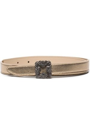Manolo Blahnik Metallic crystal-embellished Hangisi belt
