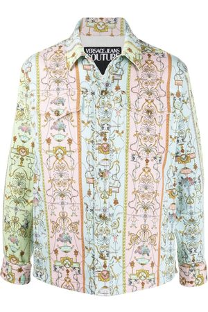 VERSACE Tuileries print denim jacket