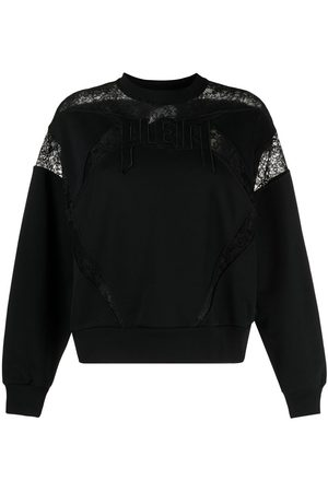 Philipp Plein Lace-panelled logo sweatshirt