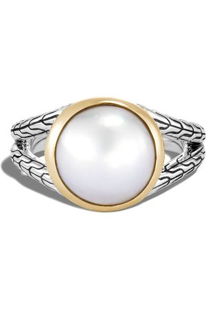 John Hardy 18kt yellow gold and sterling Classic chain hammered pearl ring
