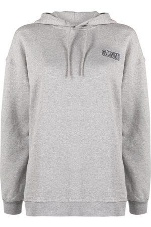 Ganni Embroidered logo hoodie