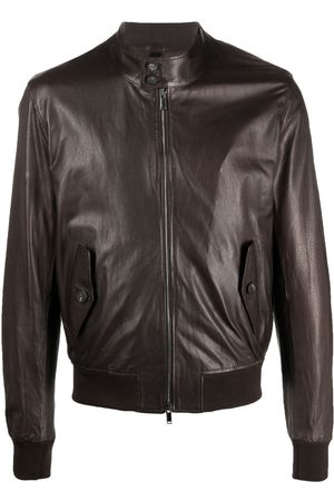 TAGLIATORE Stand-collar leather bomber jacket