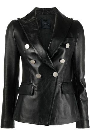 TAGLIATORE Double-breasted leather blazer