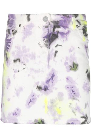 Msgm Tie-dye denim skirt