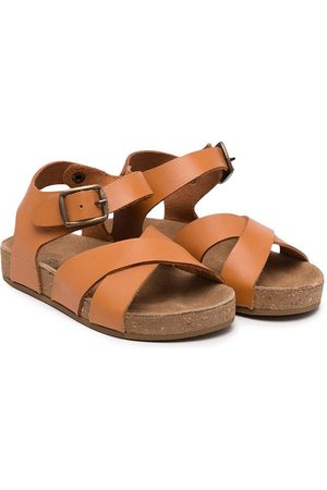 BONTON Flat leather sandals