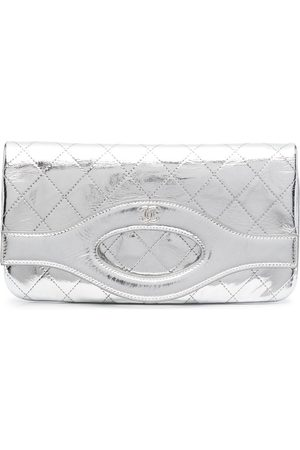 CHANEL 2019 diamond quilted metallic flap clutch
