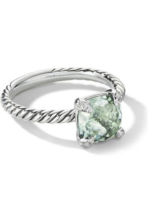 David Yurman Sterling silver Chatelaine prasiolite and diamond ring