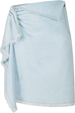 PORTSPURE Asymmetric denim rufle skirt
