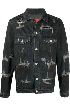 424 FAIRFAX Men Denim Jackets - Trucker distressed denim jacket