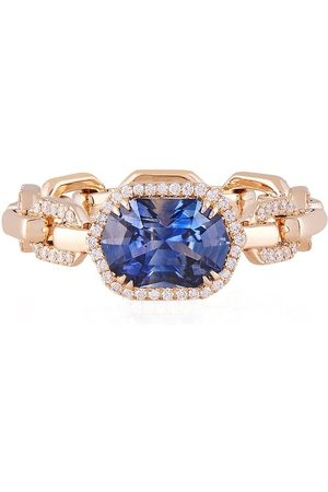 O THONGTHAI 14kt sapphire diamond chain-link ring