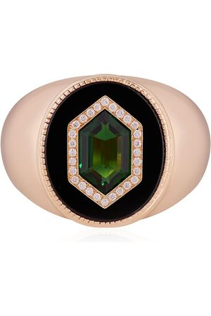 O THONGTHAI 14kt yellow tsavorite diamond signet ring