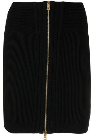 Balmain Ribbed-knit zipped skirt