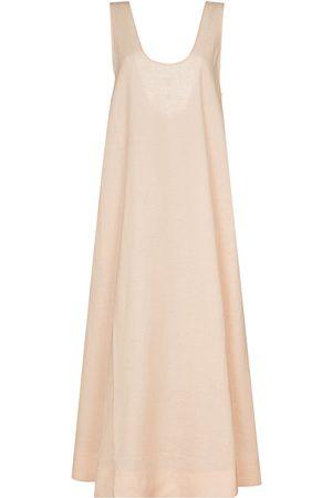 ASCENO Linen sleeveless dress