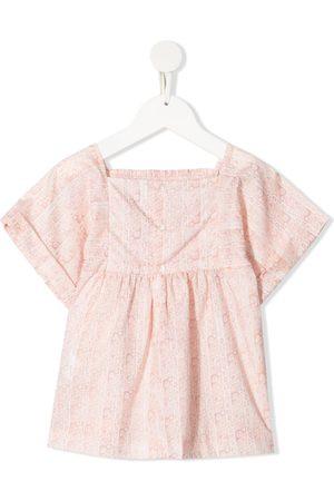 BONPOINT Girls Blouses - Smocked floral-print blouse